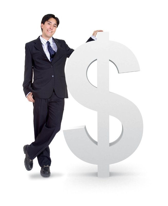 business man next to a money sign over a white background