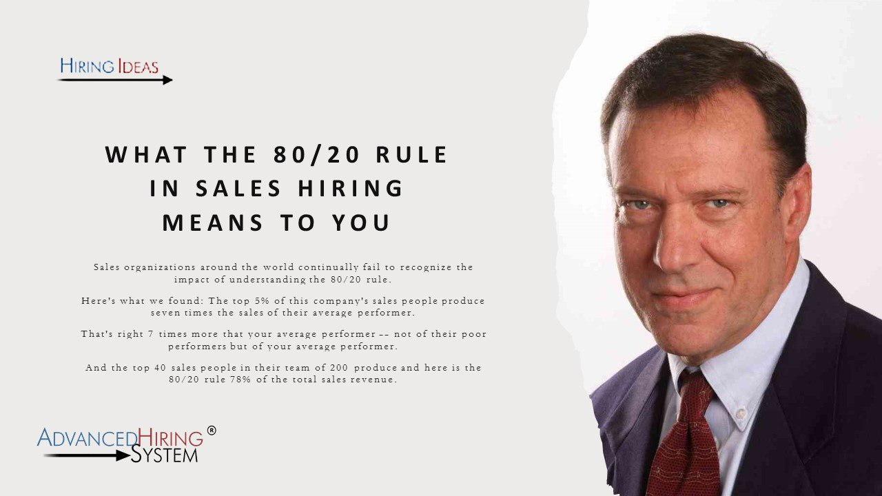 What the 80/20 Rule in Sales Hiring Means to You